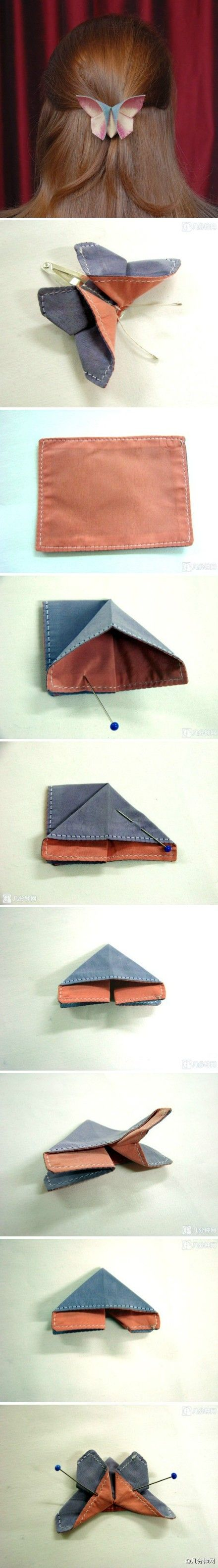 origami Cloth Butterfly Charm how to (I know it isn't a flower, but still could be used for the same types of things)