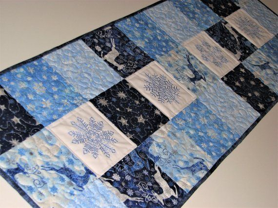 Embroidered Christmas Quilted Table Runner Blue White Silver Snowflake Table Topper Handmade Winter Patchwork Runner 15 5 X45 5 Quilted Table Runner Quilted Table Runners Christmas Quilt