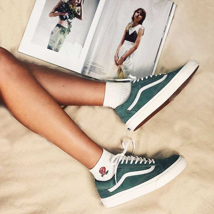 Kickin' it in our new Vans Sea Spray/True White Old Skool Retro Sport ️ PLUS wear them with our new White Rose Ankle Socks! #shoes #vans