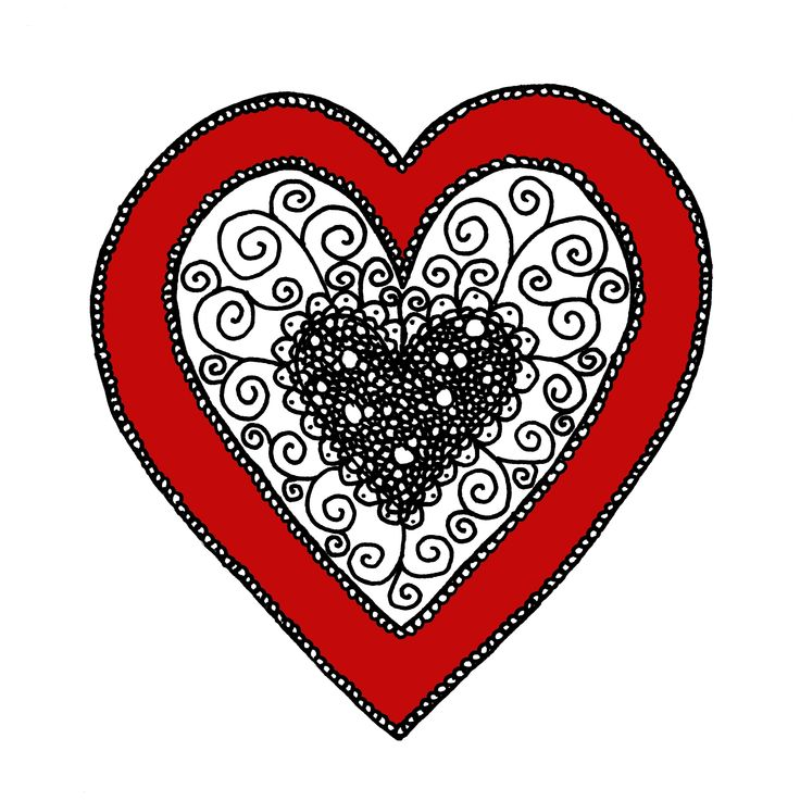 Zentangle Valentines heart with red colour. Design by Sandy Rosenvinge Lundbye.