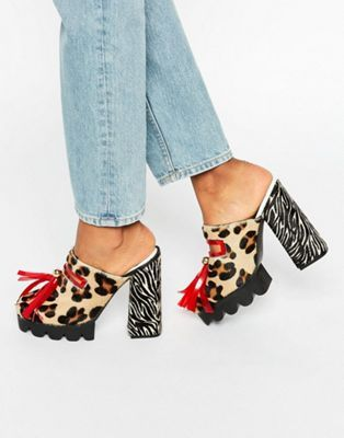 House of Holland Leopard Print Cleated Mule Heeled Shoes