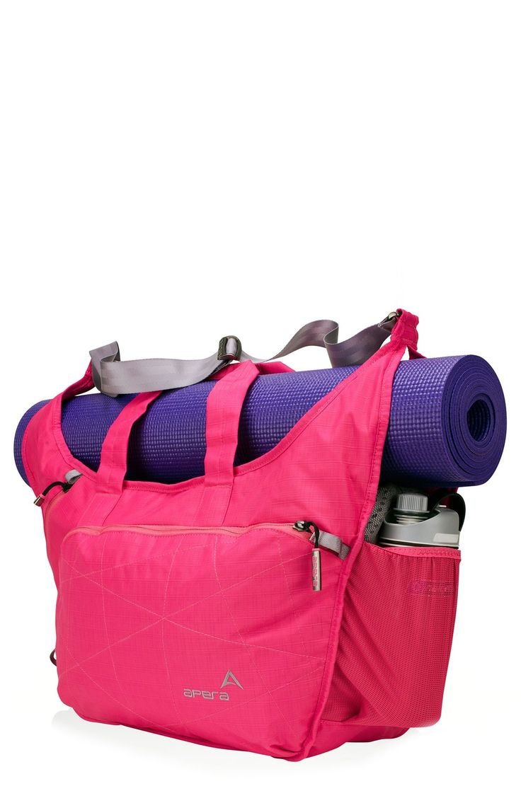 Showing off this hot pink tote at the next yoga session.