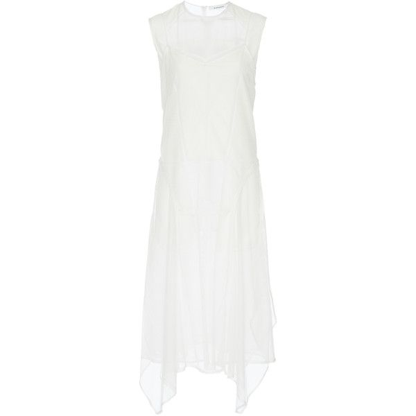 Givenchy Transparent Tulle Sleeveless Dress ($4,420) ❤ liked on Polyvore featuring dresses, white, givenchy dress, white see through dress, see-through dresses, givenchy and white tulle dress