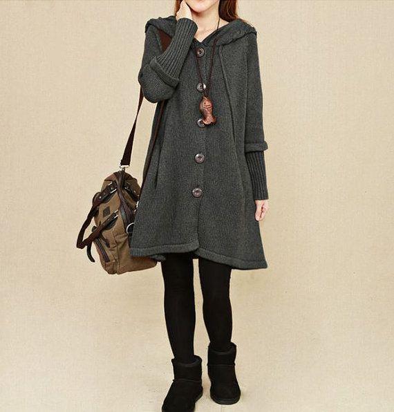 Dark Gray Sweater dress/cotton sweater/Long by originalstyleshop, $69.00