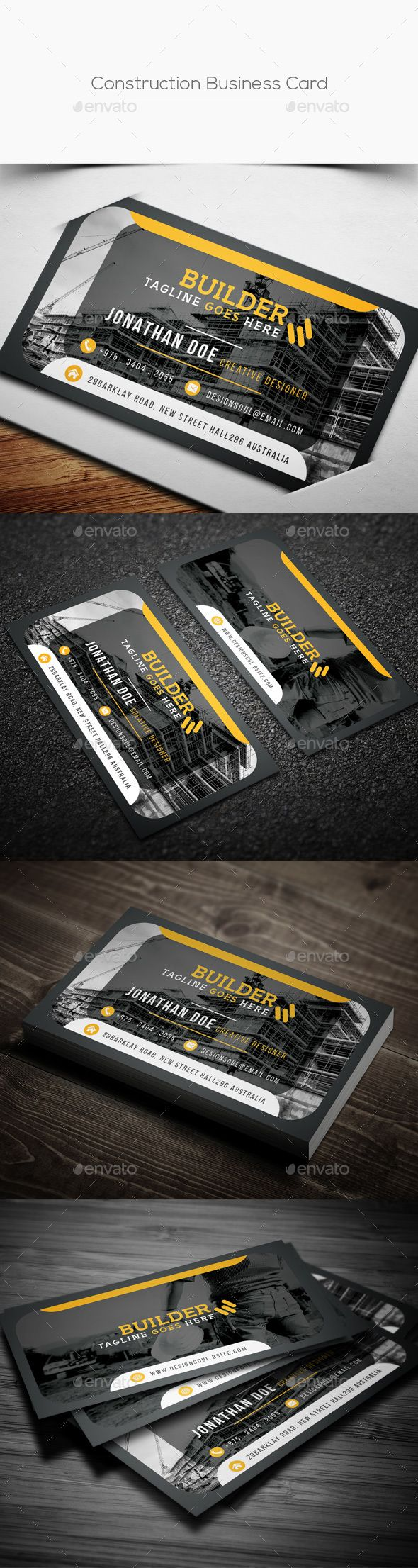 Construction Business Card - Corporate #Business #Cards Download here:  https://graphicriver.net/item/construction-business-card/20288608?ref=alena994