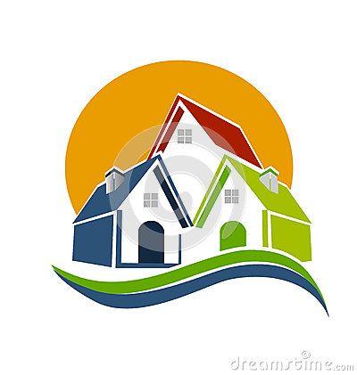 Houses sun and waves logo Stock Photos