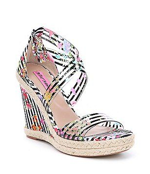 07596b9797e Betsey Johnson Fraser Transparent Jeweled Striped Floral Wedge Sandals