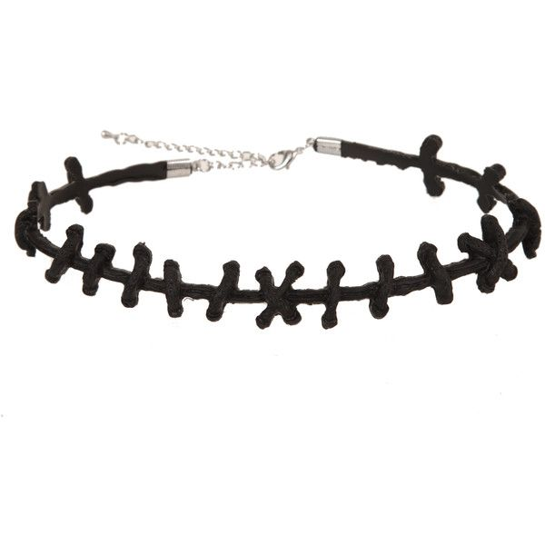 Black Stitch Choker | Hot Topic (€4,47) ❤ liked on Polyvore featuring jewelry, necklaces, accessories, choker, hot topic, choker jewellery, choker necklace, choker jewelry and stitch necklace