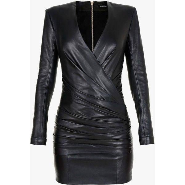 Balmain Draped leather mini dress (11,845 SAR) ❤ liked on Polyvore featuring dresses, short dresses, vestidos, balmain, draped cocktail dress, short leather dress and mini dress