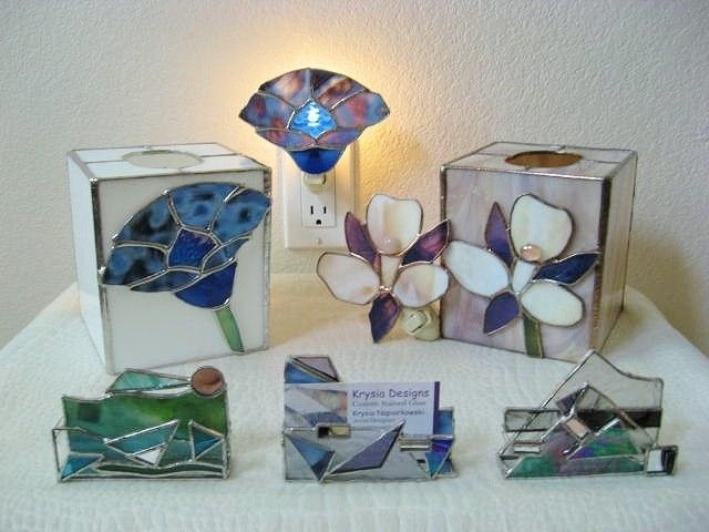 Stained Glass Home And Office Tissue Box Covers Nightlights Business Card Holders