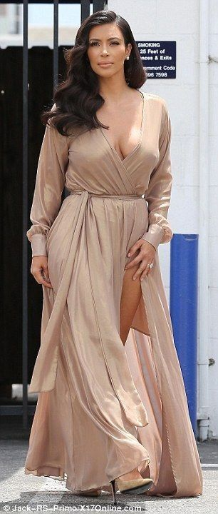 Kim Kardashian sizzles in sexy beige dress at photo shoot - Kim Kardashian Style