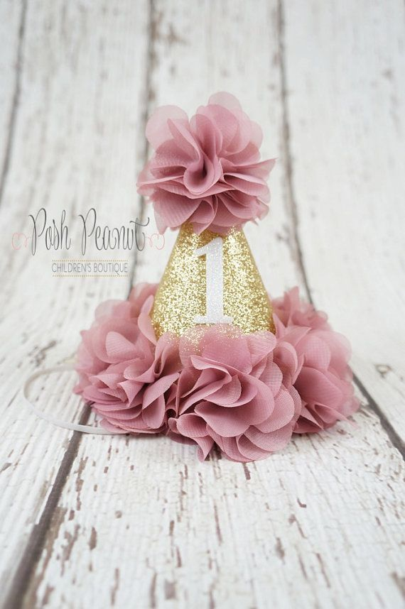 1st birthday hat girls birthday hat girl 2nd by PoshPeanutKids