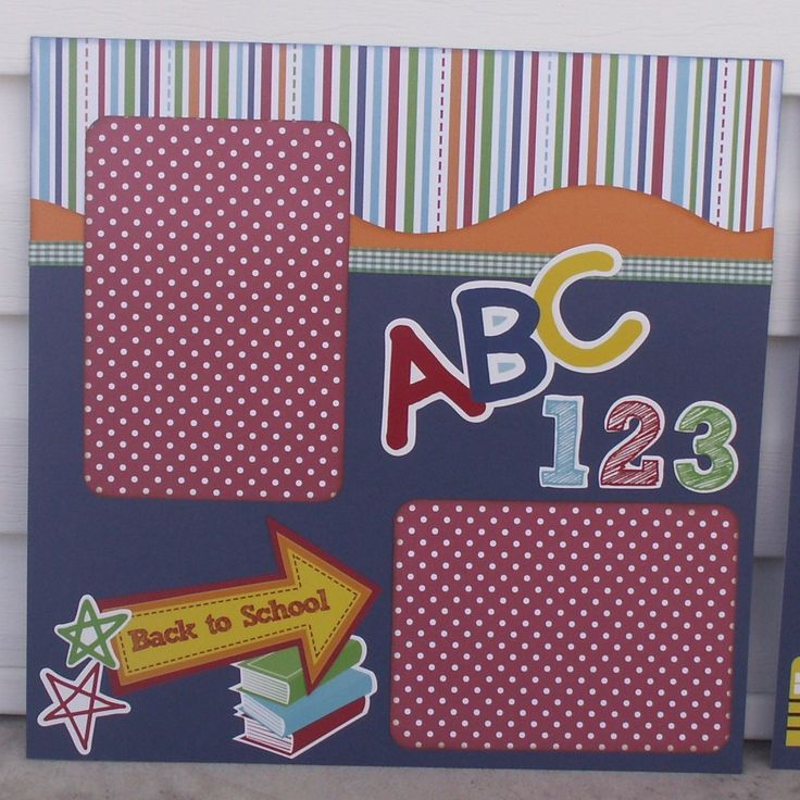 scrapebook layouts for school | Back to School Premade Scrapbook Layout by Scrappin2gether on Etsy