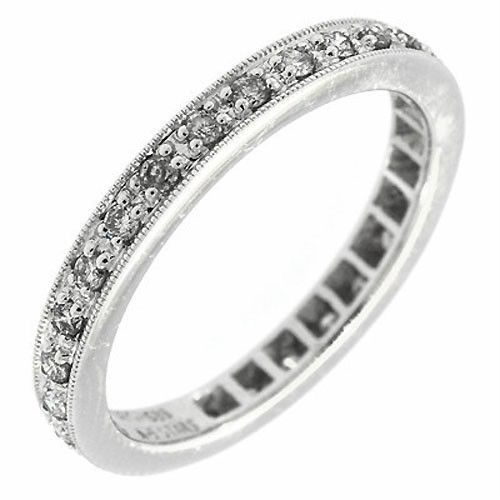 0.40 Cttw Round Diamonds Stackable Eternity Wedding Band Ring 14K White Gold #Diamonds #Eternity #Wedding #Band #Ring #14K #WhiteGold #Stackable