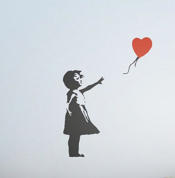 Heart balloon Banksy Banksy Wall art - Banksy Stickers - Banksy wall art - Banksy wall decals - Banksy wall stickers  - Banksy wall decor