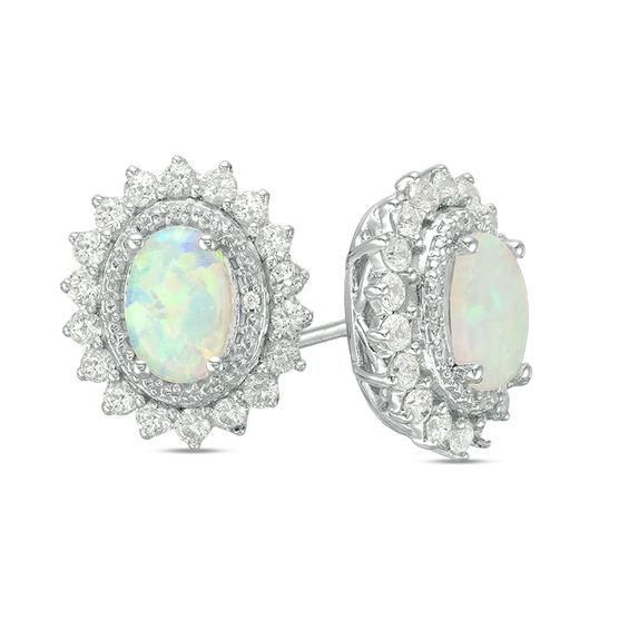 Zales Oval Lab-Created Opal Crown Earrings in Sterling Silver 1pp8Qwh