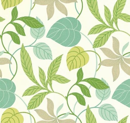 Folia (DIOWFO103) - Sanderson Wallpapers - A delightful profusion of entwined foliage and stems ramble across this wide width design. Shown here in the emerald green and teal colourway set on a cream background. Available in 4 colours. Please ask for sample for true colour match.