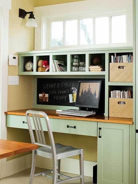 Love the windows above this kitchen office nook. Similar mizzle color in our kitchen from Farrow and Ball, and cherry counter tops!