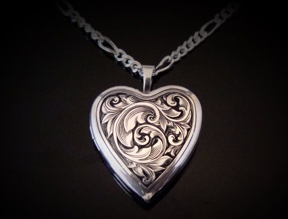 Hand Engraved Sterling Silver Heart Locket By