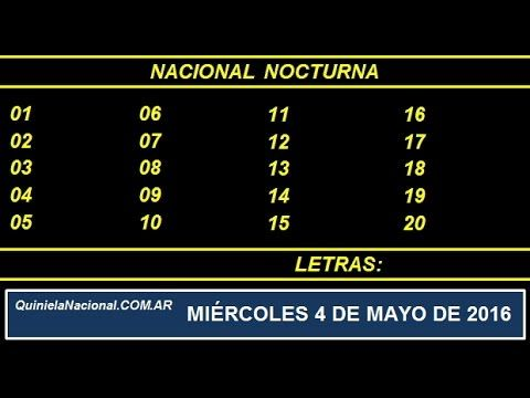 Quiniela Nacional Nocturna Miercoles 4 de Mayo de 2016 www.quinielanacional.com.ar