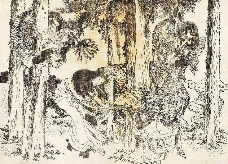 A woman makes a cursing ritual ceremony  woodcut by Katsushika Hokusai