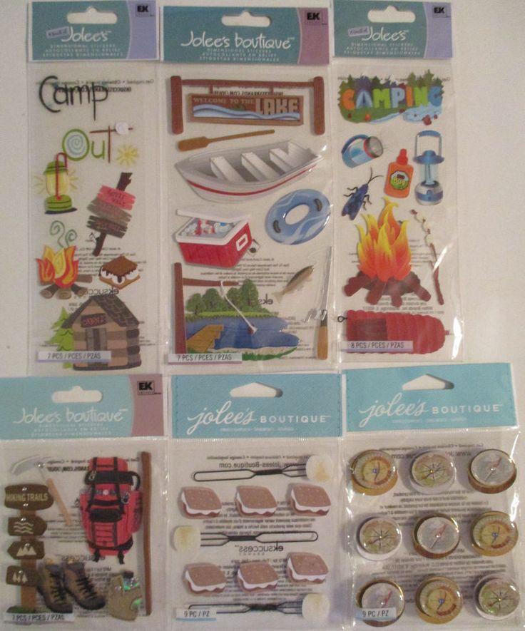 Scrapbooking Stickers Lot Jolee's Boutique CAMPING Hiking Lake Fire Compass #JoleesBoutique #ScrapbookEmbellishments