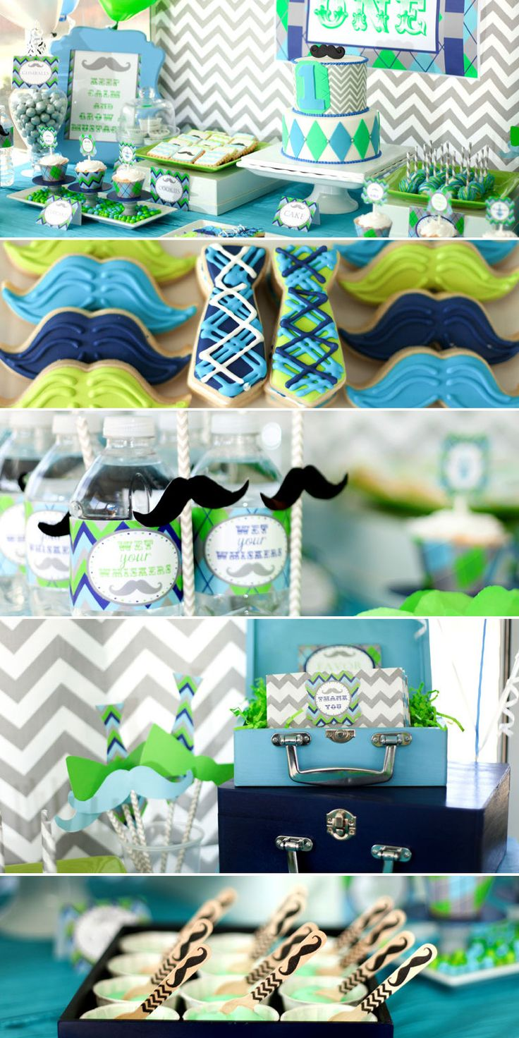 Birthday table decorations for men - Little Boy First Birthday Mustache Bash Little Man Party