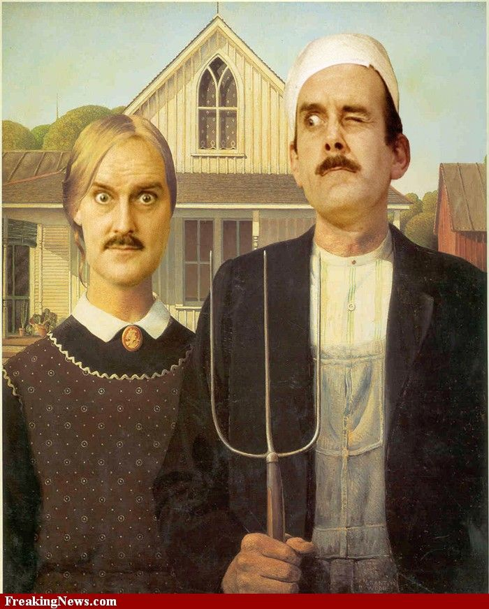 John Cleese in American Gothic Painting hi-res pictures