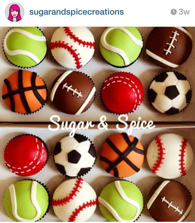 Sports ball cupcakes Cakes Pinterest