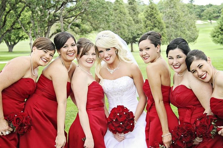 Red Wedding Black Magic Roses Red Bridesmaid Dresses