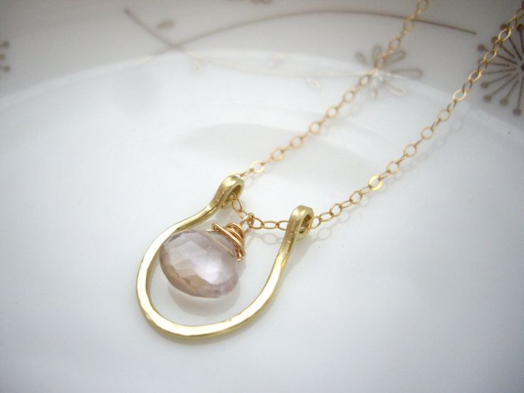 Horseshoe gold necklace with teardrop gemstone, Lucky jewelry, Ametrine goldfilled necklace, Delicate simple jewelry, OOAK lucky gift - pinned by pin4etsy.com