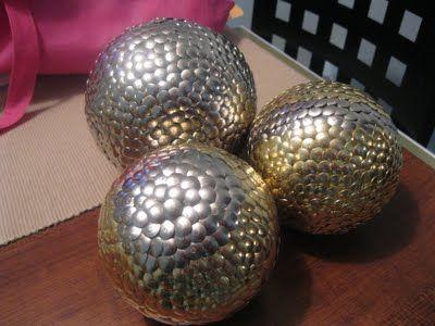 decorative balls made from styrofoam balls with thumbtacks
