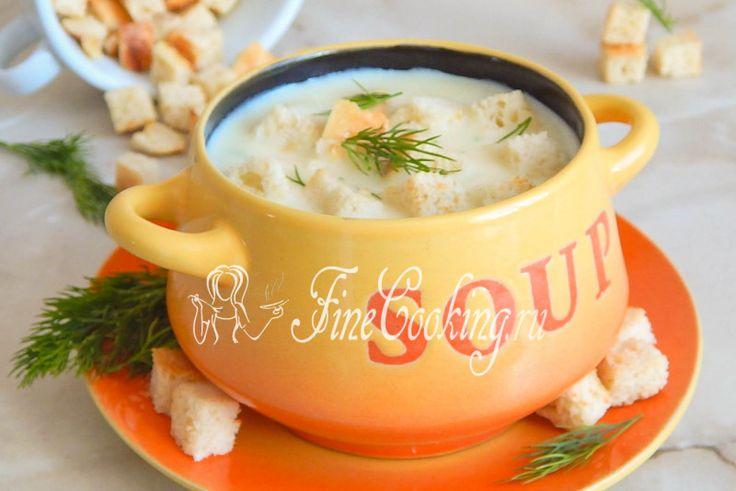 Сырный суп-пюре с гренками - рецепт с фото