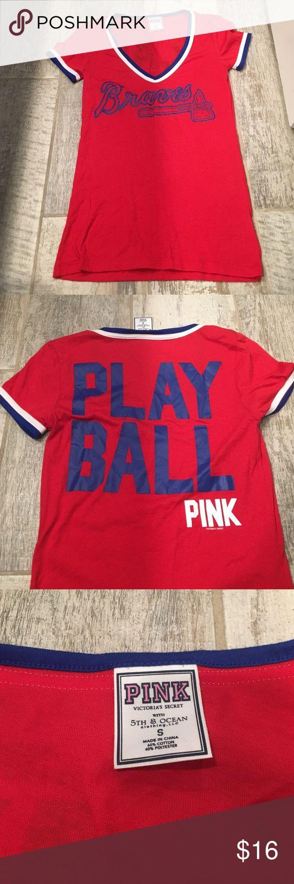 Atlanta Braves PINK brand shirt Cute Atlanta Braves PINK brand shirt.  Size small.  Only worn once to a game.  Great condition. PINK Victoria's Secret Tops Tees - Short Sleeve