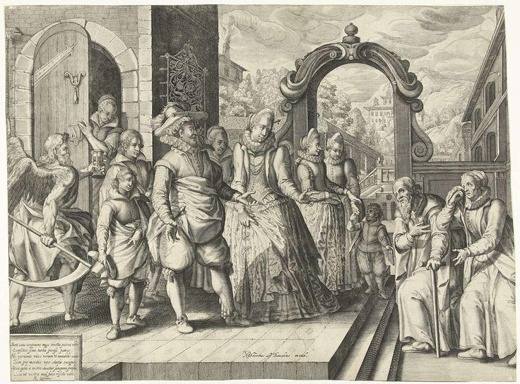 Anonymous   Rijke kinderen, arme ouders, Anonymous, Robert de Baudous, Richard Lubbaeus, c. 1591 - c. 1659   Een rijk echtpaar met hun kinderen staat op het bordes voor hun huis. Voor het bordes staat een oud en arm echtpaar. De man leunt op een stok en de oude vrouw veegt met een doek haar tranen weg. De rijke kinderen wijzen hun arme ouders de deur. Ze willen niet voor hen zorgen. Achter de kinderen loopt Vader Tijd, met een zeis en een zandloper in zijn handen. Hij wijst erop dat ook de…