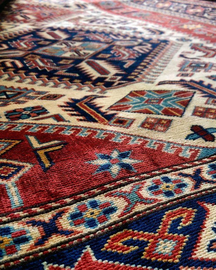 Remarkable Kazak Shervan with a bold design and a stunning shimmer!    #kazak #shervan #bold #shimmer#glow #shine #rug #vibrant #colourful #carpet #ihavethisthingwithfloors #ihavethisthingwithrugs #interiors #interiordesign #decor #geometric #bohemian #sydney