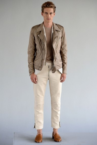 J.Lindeberg SS13. Can't get down with the trousers (would be fine was it not for the unhidden zip), but the jacket is a great take on the rider jacket/Perfecto/moto/whatever you want to call it.
