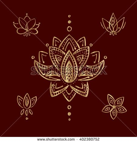 Gold lotus. Indian mendi designs. Ornament is a decoration used to embellish parts of object