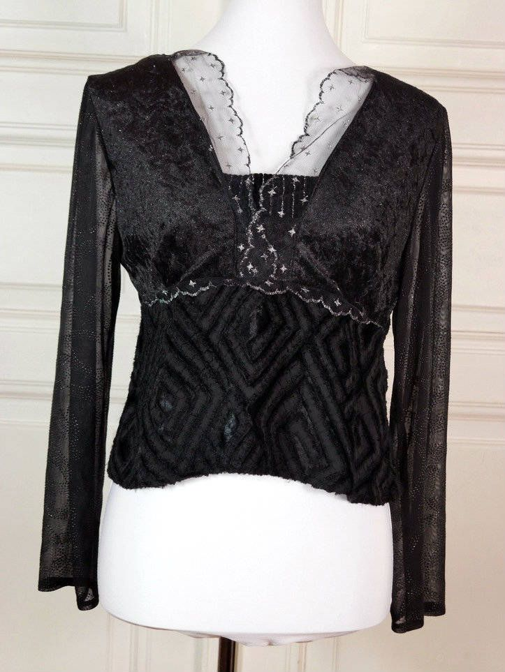 Finnish Vintage Black Velour Sheer Blouse, Black Silver Velour Velvety Fitted Top, Sheer Sleeves, Textured Gauze Lace: Size 10 US, 14 UK by YouLookAmazing on Etsy