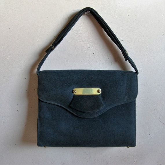 Vintage 1960s Mastercraft Purse Dark Blue Suede Leather 1960s