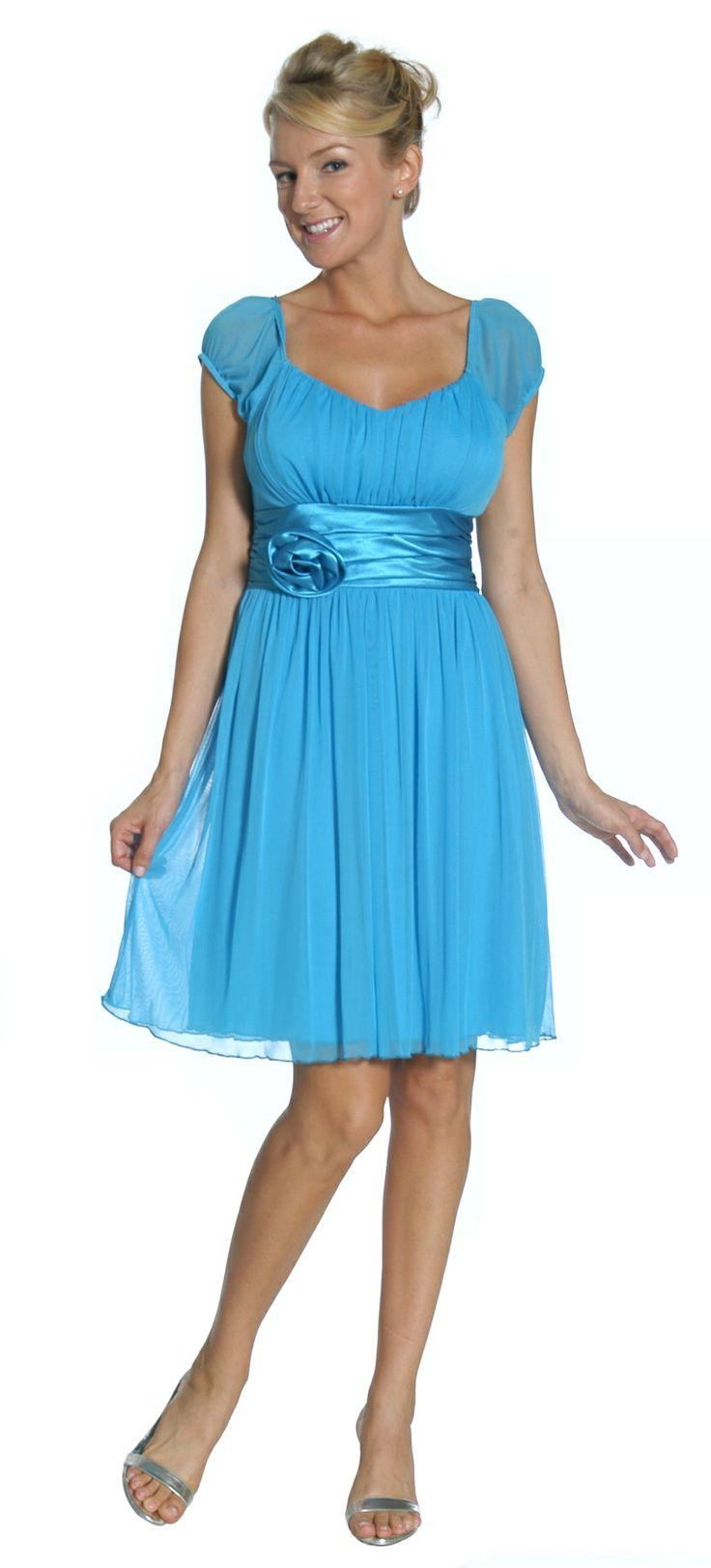 Short Turquoise Show Choir Dress Cap Sleeves Chiffon Knee Length