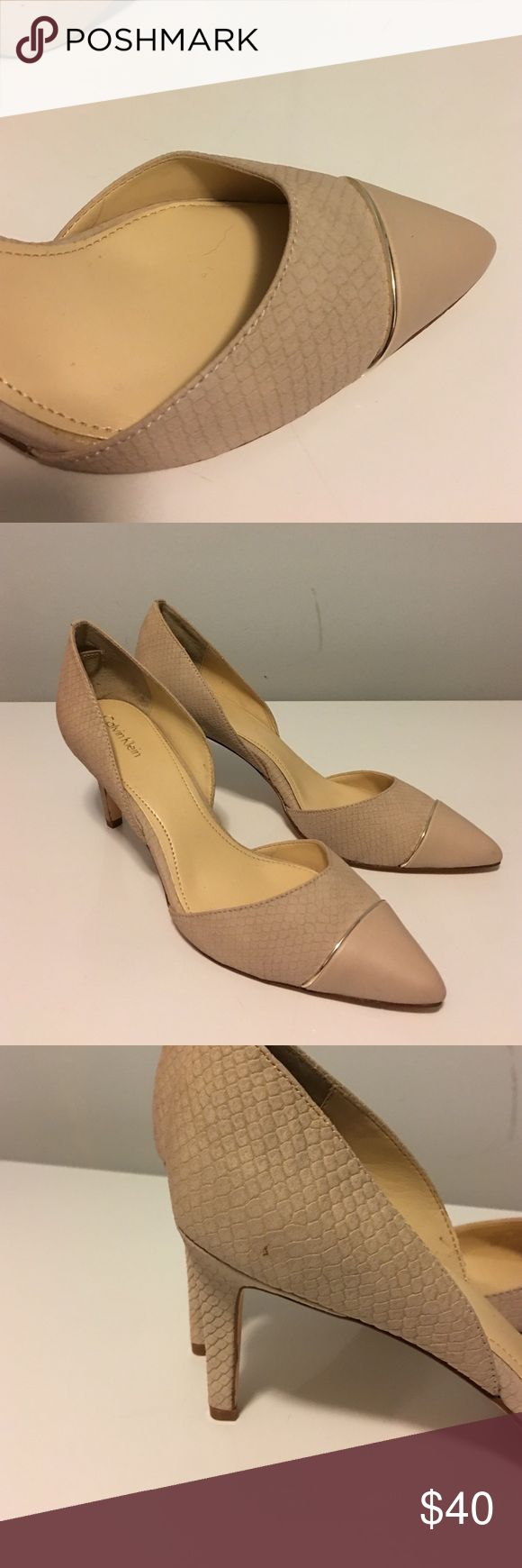 Calvin Klein pumps, size 10 Brand new never worn tan leather pumps with silver trim, women's size 10 Calvin Klein Shoes Heels