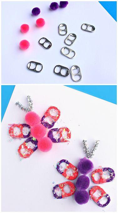 Soda Pop Tab Butterfly Craft - Fun for spring or summer!   CraftyMorning.com