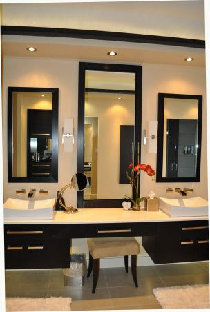 Master Bath Spa Retreat. Love the floating cabinetry and clean look.
