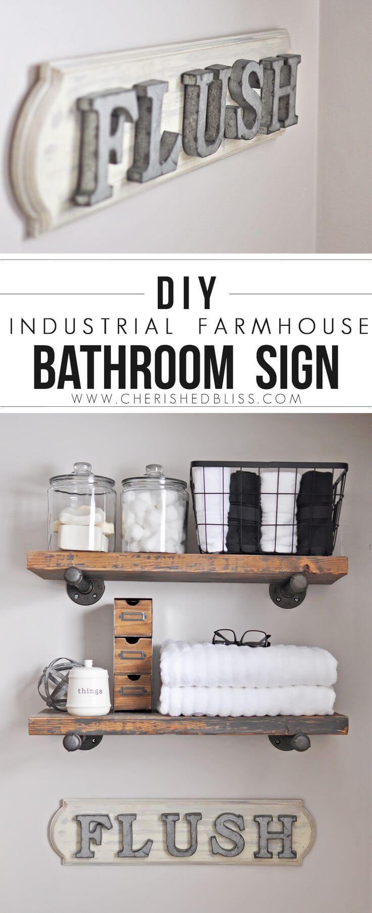 """DIY Farmhouse Bathroom """"Flush"""" Sign"""