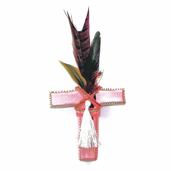 <b>// L I M I T E D - E D I T I O N \\</b>Individually hand-made <b>Prayer Tribe</b> piece by A Boy Named Aaron.<b>Cross Size:</b> 15x11.5cm <i>(Approx)</i><b>Medium:</b> Ceramic Plaster.<b>Finish:</b> Pink/White.<b>Decoration:</b> Hand-detailed feathers, beading