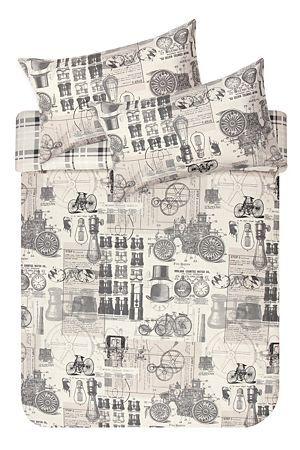 "This vintage industrial printed duvet cover set is made from a 132 thread count polycotton and will give any masculine room setting a fun and quirky edge. Single and three quarter include 1 standard pillowcase, double, queen and king include 2 standard pillowcases.<div class=""pdpDescContent""><BR /><BR /><b class=""pdpDesc"">Fabric Content:</b><BR />45% Cotton 55% Polyester<BR /><BR /><b class=""pdpDesc"">Wash Care:</b><BR>Lukewarm machine wash</div>"