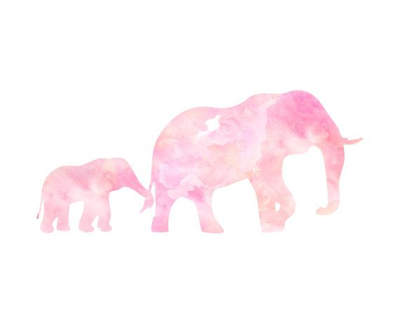 Pink Watercolor Elephant Silhouettes  Mother by MyPrintBoutique