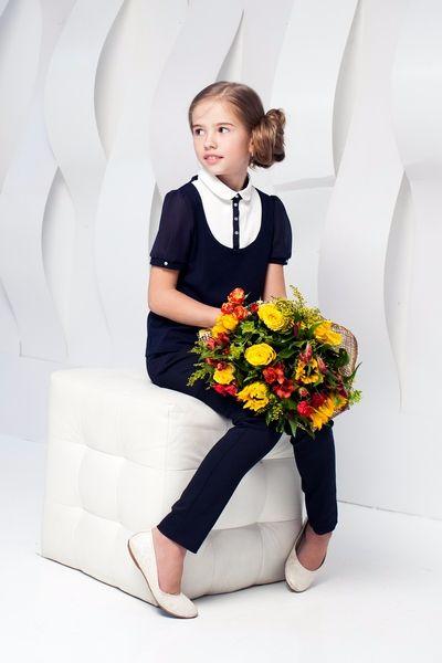 Школьная форма Choupette для девочки: брюки и жилет, белая рубашка с коротким рукавом