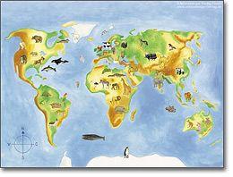 Bildschirmhintergrund ABC der Tiere Weltkarte